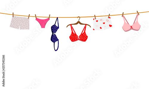 Obraz Pantie, bra and lingerie hanging on rope. Vector illustration. - fototapety do salonu