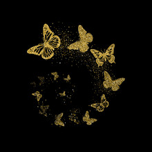 Golden Glitter Butterflies Fly In Spiral On Black Background. Beautiful Gold Silhouettes With Different Shapes Wings. For Invitation, Fashion, Decorative Abstract Design Elements. Vector Illustration.