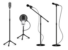 Collection Of Standing Professional Microphones