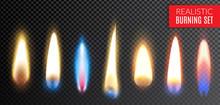 Realistic Burning Transparent Icon Set