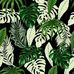Fototapeta Abstrakcja Seamless pattern with tropical banana, palm and monstera leaves for fabric design.