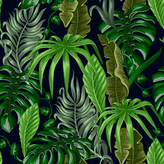 Fototapeta Popularne Seamless pattern with tropical banana, palm and monstera leaves for fabric design.