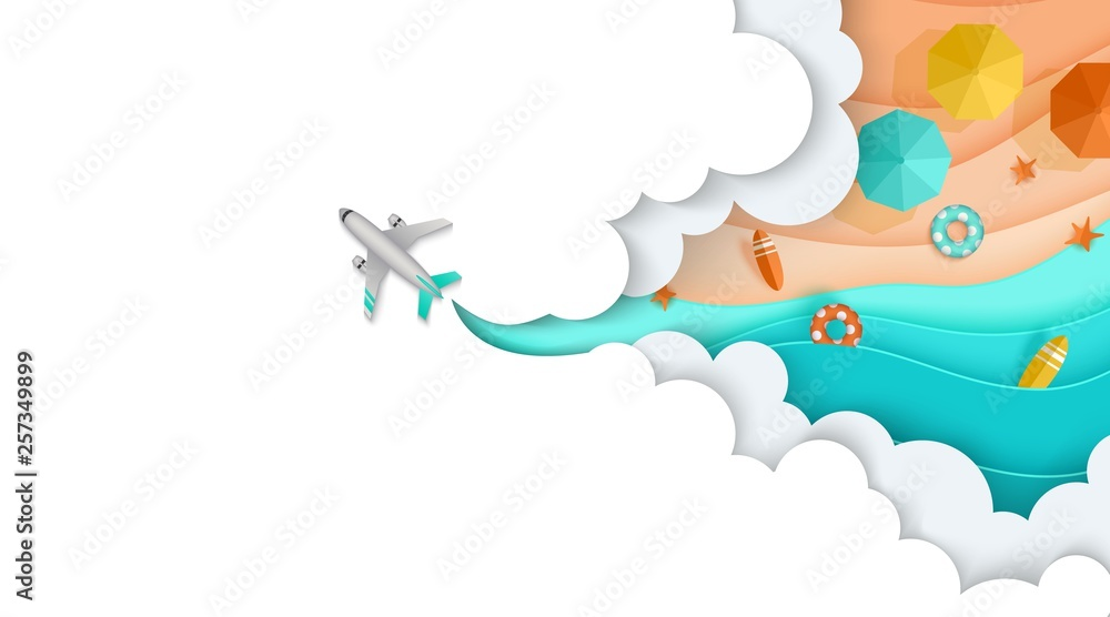 Fototapety, obrazy: Plane flies through the clouds, see, beach, sea, sand, Layered, landing page
