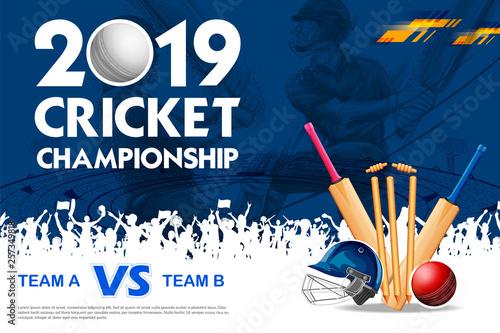 Cuadros en Lienzo  Batsman playing cricket championship sports 2019
