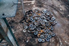 Old Rusty Train Wheels, Top View