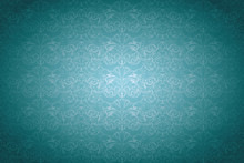 Turquoise,aqua Blue Vintage Background ,royal With Classic Baroque Pattern, Rococo With Darkened Edges Background(card, Invitation, Banner). Horizontal Format, Vector EPS 10