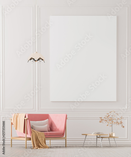 Pinturas sobre lienzo  Mock up poster frames in scandinavian style interior with arcmhair