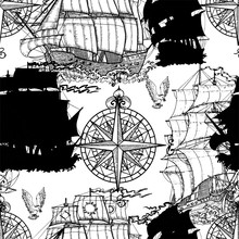 Seamless Vector Pattern With Nautical Decoration, Antique Sailboats, Compass On White. Graphic Nautical Illustration, Historical Adventure Concept, Vintage Transportation Background