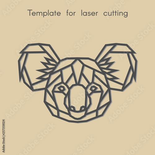 Template animal for laser cutting  Abstract geometric koala
