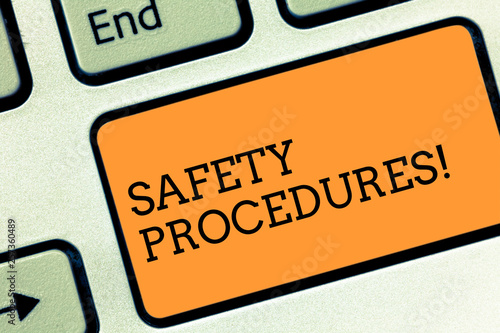 Text sign showing Safety Procedures  Business photo text
