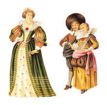 French Noblewoman And Dutch Nobleman And Noblewoman (1640-1650) / Vintage Illustration From Meyers Konversations-Lexikon 1897