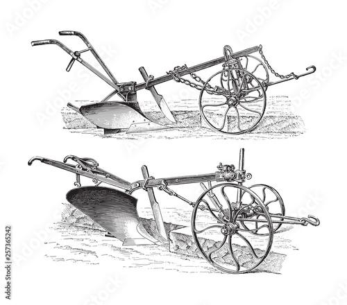 Fotomural Old ploughs (made in Germany) / vintage illustration from Meyers Konversations-L