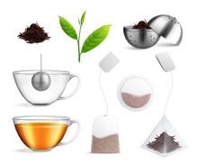 Tea Brewing Bag Realistic Icon...