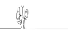 Cactus Continuous Line Drawing Vector Illustration