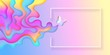 Summertime bright rainbow layered banner with butterfly vector illustration