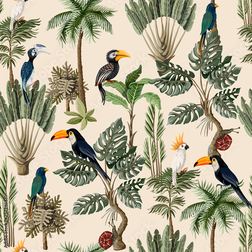 Photo Seamless pattern with exotic trees and animals