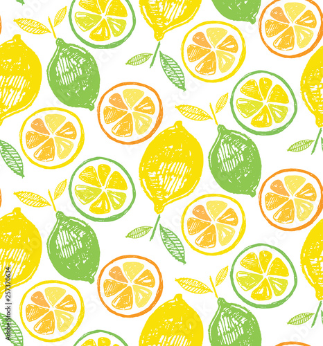 Hand drawn doodle citrus pattern background - 257370634