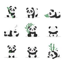 Cute Pandas Flat Vector Color Illustrations Set