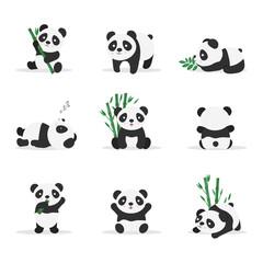 Fototapeta Panda Cute pandas flat vector color illustrations set