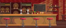 Beer Bar Interior Cartoon Vect...