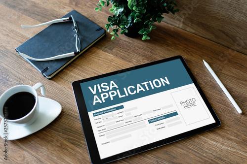 Fotografie, Obraz  Online Visa application form on screen. Country Visit permit.