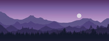 Wide Realistic Illustration Of Mountain Landscape With Forest And Trees. Purple Night Sky With Moon Or Sun, Vector