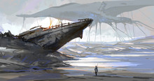 The Ship That Was Stranded By The Dry Sea, The Earth Scene After The Aliens Invaded, Digital Illustration.