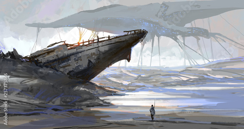 Fotografija  The ship that was stranded by the dry sea, the earth scene after the aliens invaded, digital illustration