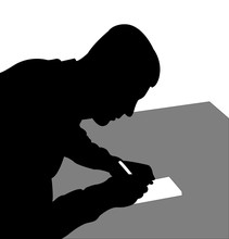 Man Writing Silhouette Vector