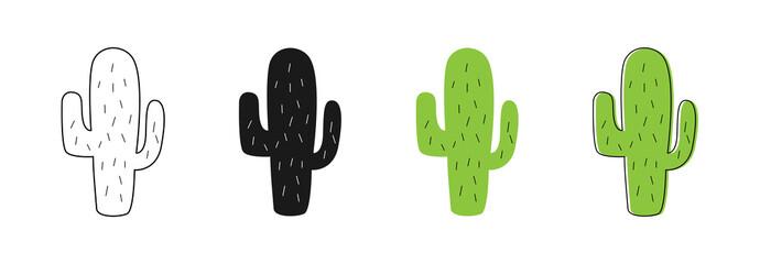 Ikone kaktusa ikone. Vektorske ikone kaktusa. Set kaktusa različitih stilova. Linearni, web, ravni i crtani dizajn