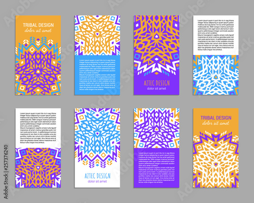 Photo Aztec colorful hand-drawn ornamental card template