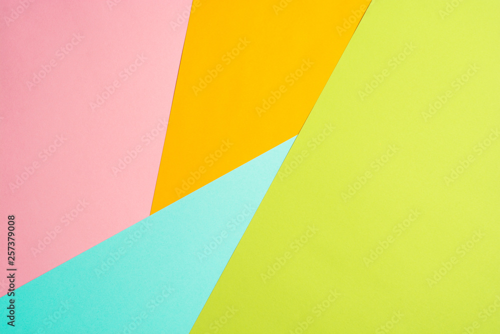 Fototapety, obrazy: texture background of fashionable pastel color with top view, minimal concept, flat lay: blue, orange, green and pink