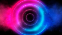 Neon Circle, Neon Lights. Neon Circle With The Center Of A Dark Empty Scene With Spotlights. Abstract Light. Night View.