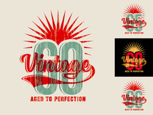 Template For Making Jubilee Greeting Card, Invitation, Poster, T-shirt Print, Etc., In Vintage Style With Text – Aged To Perfection. For 60, 65, 66 Jubilee.