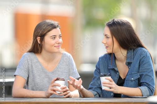 Two friends talking in a park drinking coffee - 257387476