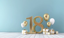 Number 18 Party Celebration Room With Gold And White Balloons And Gift Boxes.