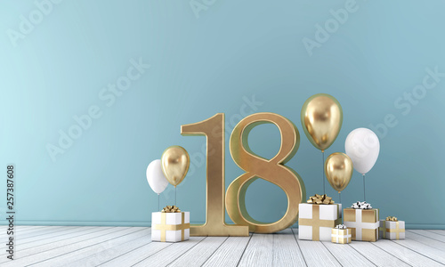 Photo Number 18 party celebration room with gold and white balloons and gift boxes