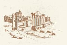 Vector Sketch Of Ancient Ruins...