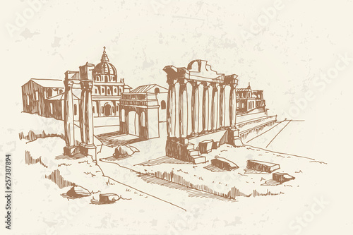 vector sketch of Ancient ruins of Roman Forum or Foro Romano, Rome, Italy Canvas Print