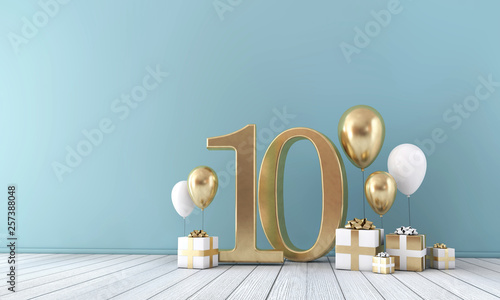 Cuadros en Lienzo Number 10 party celebration room with gold and white balloons and gift boxes