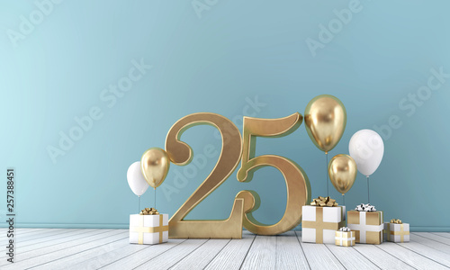Papel de parede  Number 25 party celebration room with gold and white balloons and gift boxes