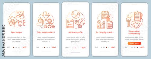 Fotomural SMM metrics courses onboarding mobile app page screen vector tem