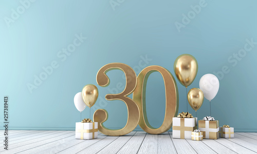 Fotografia Number 30 party celebration room with gold and white balloons and gift boxes