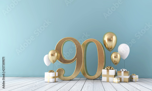 Number 90 party celebration room with gold and white balloons and gift boxes Canvas-taulu