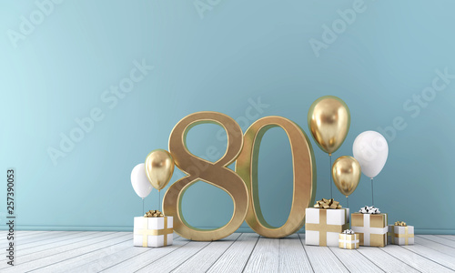 Fotografia  Number 80 party celebration room with gold and white balloons and gift boxes