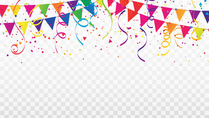 Celebration background template with confetti Colorful ribbons and flag frame. luxury greeting rich card.