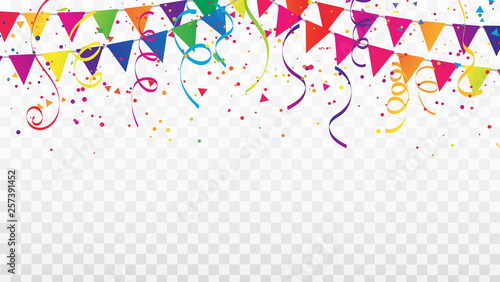Fotografía  Celebration background template with confetti Colorful ribbons and flag frame