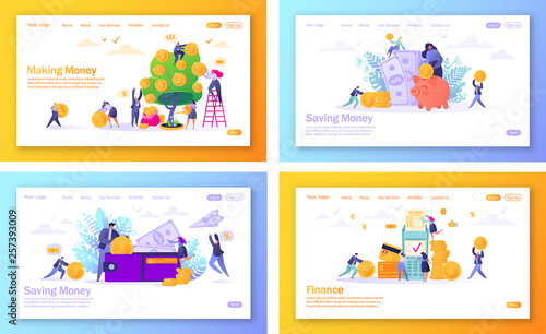 Fototapeta Set of concept of landing pages on finance theme. Flat people, business characters making money, saving money, online banking, money transaction technology. Concept for mobile website, web page. obraz