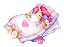 Cute, Sleeping  Unicorn Cartoo...
