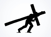 Men Carry The Cross. Vector Dr...